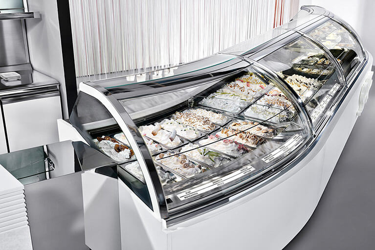 Space Display Case for gelato, ice cream, and frozen desserts