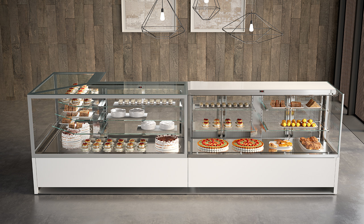 Upright Display Cases Refrigerated Warmed Showcases
